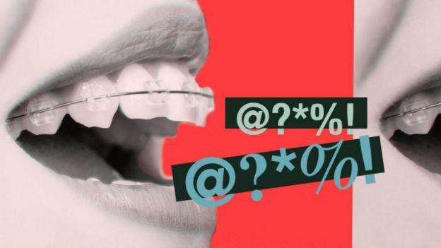 Composición de una boca y unas palabrotas