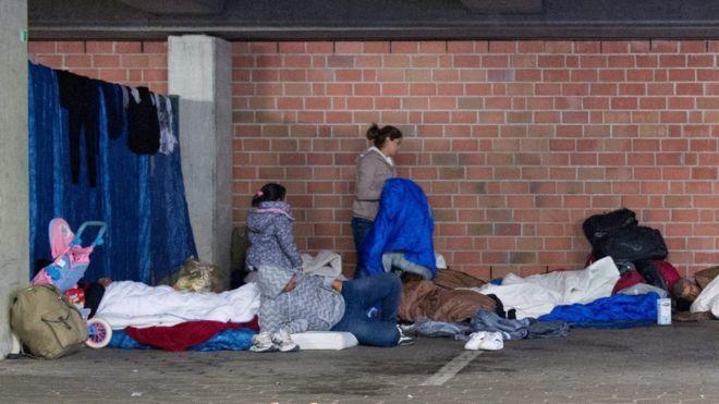 Беженцы на улице
