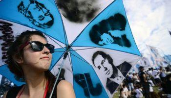 Marcha en favor del peronismo, en Argentina