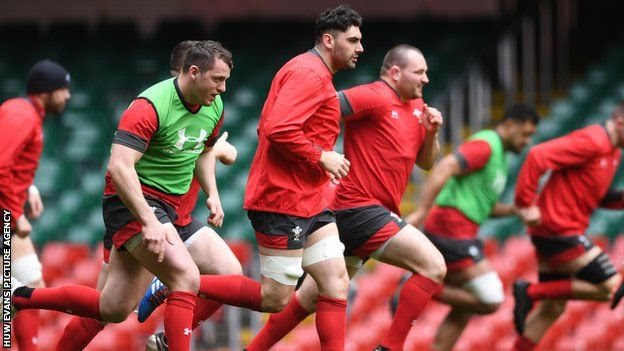 Wales players in training just hours before the Six Nations match against Scotland was postponed