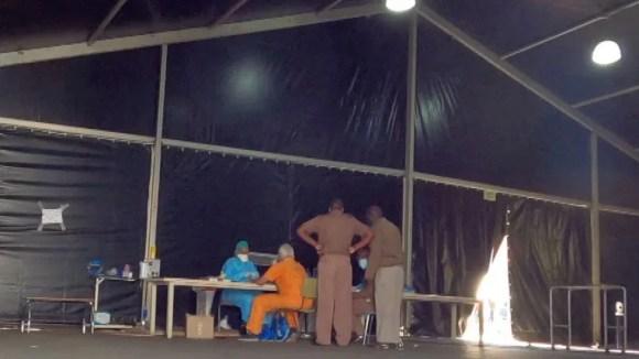 Medics in a tent at Sebokeng Hospital, South Africa