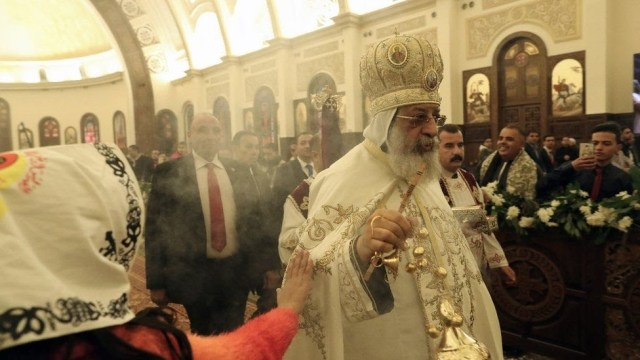 Pope Tawadros II of Alexandria leads a Christmas Eve mass at the newly inaugurated Cathedral of Nativity in the New Administrative Capital, Egypt