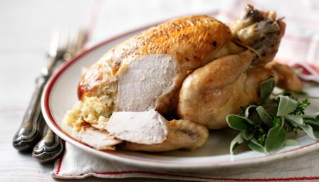 Roast chicken and sage and _nion stuffing and gooseberry sauce