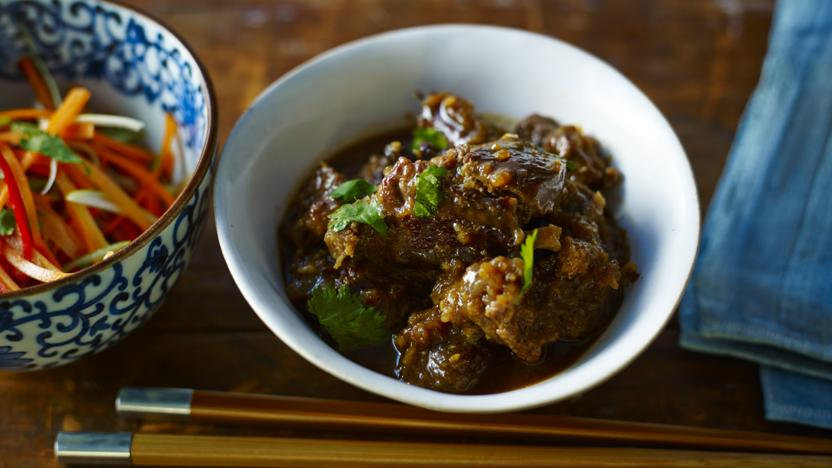 Braised shin of beef with hot and sour salad recipe - BBC Food