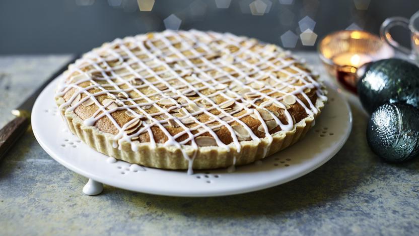 Christmas Bakewell tart with cranberry frangipane