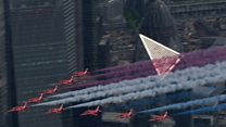 Red Arrows VE Day anniversary flypast