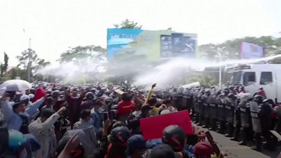 Myanmar coup: Police fire rubber bullets at protesters #world #BBC_News