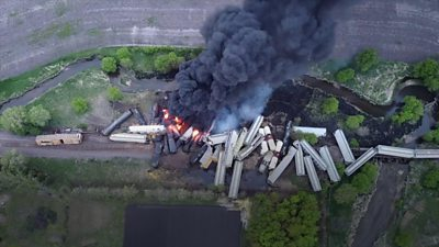 Train derails and explodes into flames #world #BBC_News