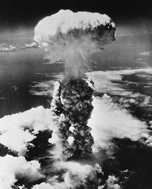 High angle view of an atomic bomb explosion, Hiroshima, Japan