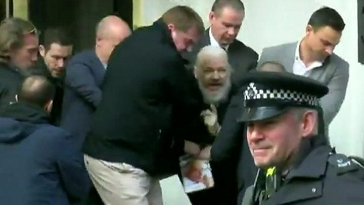 Image result for Julian Assange being dragged from the Ecuadorian embassy in London