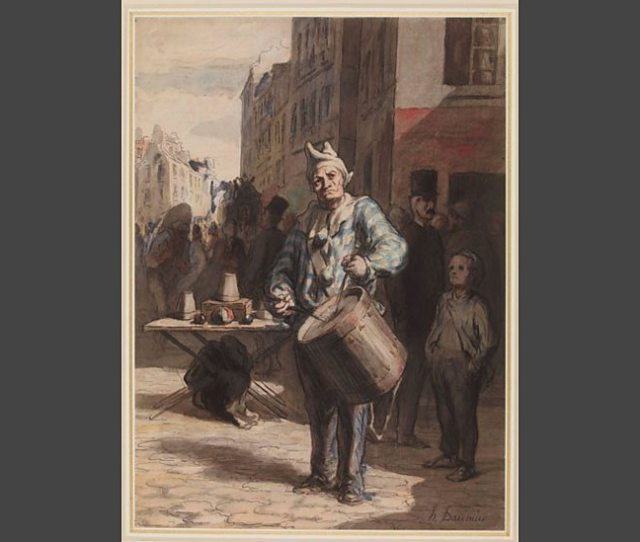 Clown Playing A Drum C 1865 7 Pen And Black And Grey Ink Grey Wash Watercolour Touches Of Gouache 35  6 Cm