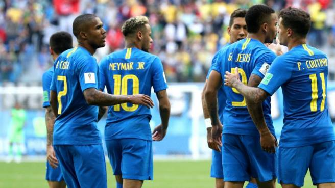 Image result for Brazil secure first with late goals from Coutinho, Neymar