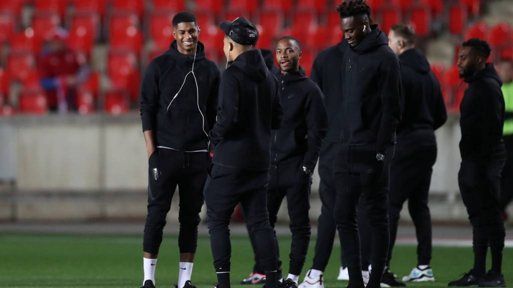 England's Marcus Rashford, Jadon Sancho, Raheem Sterling and Tammy Abraham on the pitch before the match