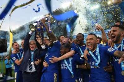 Leicester City celebrate Premier League win