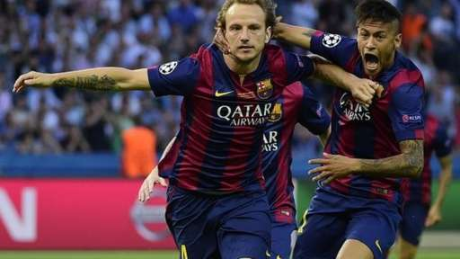 Ivan Rakitic celebrates scoring in the Champions League final
