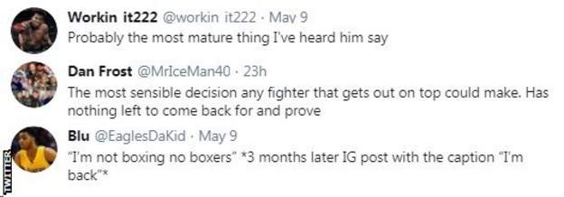 sport Boxing fans on Twitter react to Floyd Mayweather saying he is finished with boxing. One fan says that Mayweather has