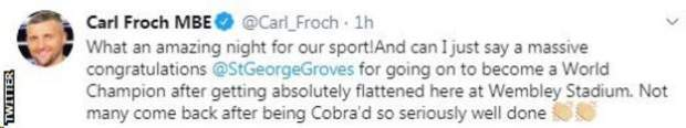 "Carl Froch gives a backhanded compliment to George Groves, saying not many come back ""after being Cobra'd"" and win a world title"