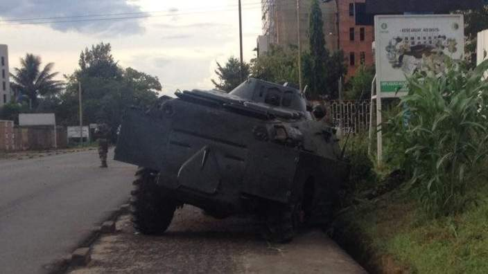 A destroyed army vehicle in Bujumbura
