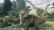 Lizard-hipped dinosaurs: Baryonyx in the forground and Brachiosaurs in the distance
