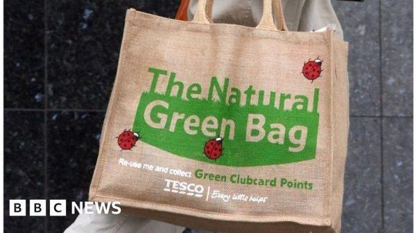 Tesco plastic bag use 'down 80%' since 5p charge - BBC News