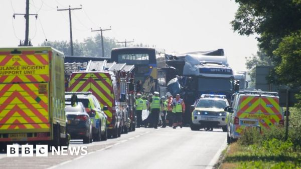 A47 crash: Two dead in bus and lorry collision - BBC News