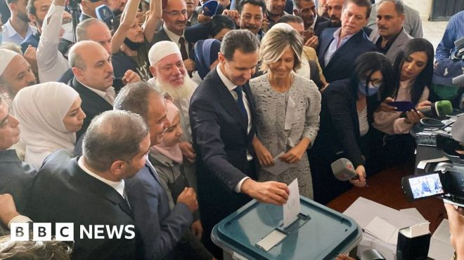 Syria holds presidential election dismissed as farce by opposition #world #BBC_News