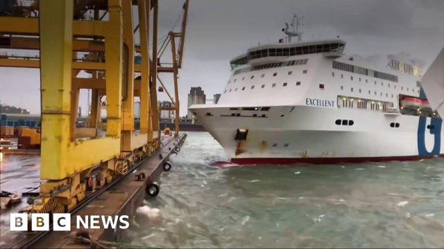 Barcelona Port Fire As Ferry Crashes Into Crane