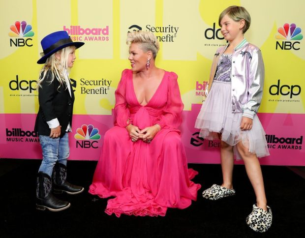 Pink brought along her children Jasmine and Willow.
