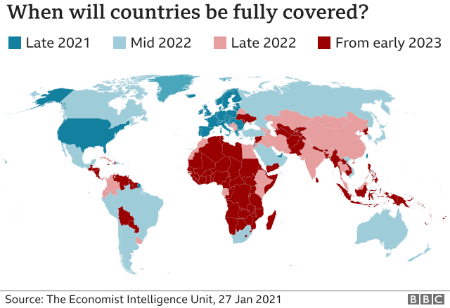 A map showing when countries are likely to be fully vaccinated.