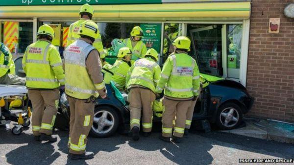 A12 fire service rescue as car goes into Kelvedon shop ...