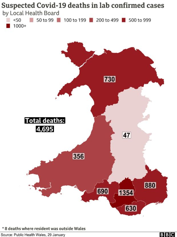 Map showing Covid deaths in Wales