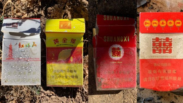 Chinese cigarette packets litter Shiprock