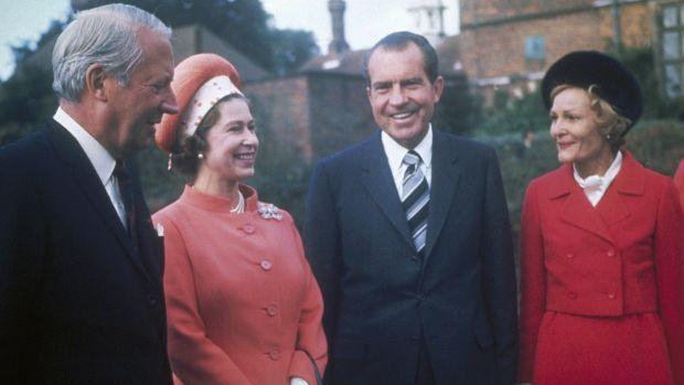 Queen with Richard Nixon, Ted Heath and Patricia Nixon
