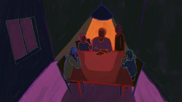 illustration Thembi telling her family she has HIV