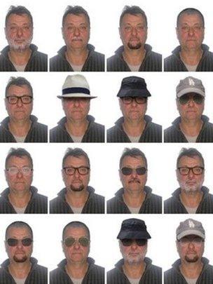 Polícia Federal divulgou retratos com possíveis disfarces de Battisti