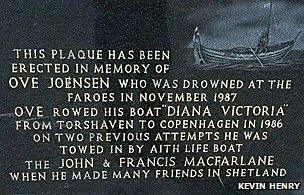 Plaque in the Faroe Islands to commemorate Ove Joensen
