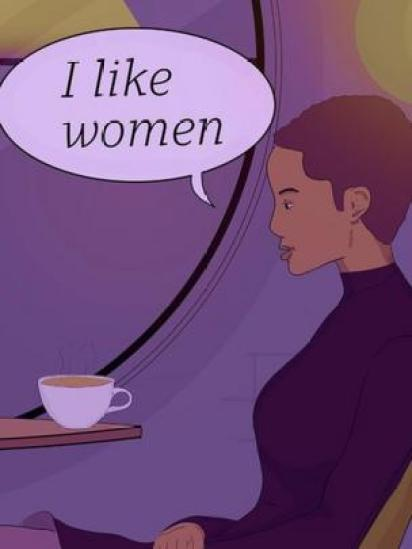 Ilustración de una mujer diciendo