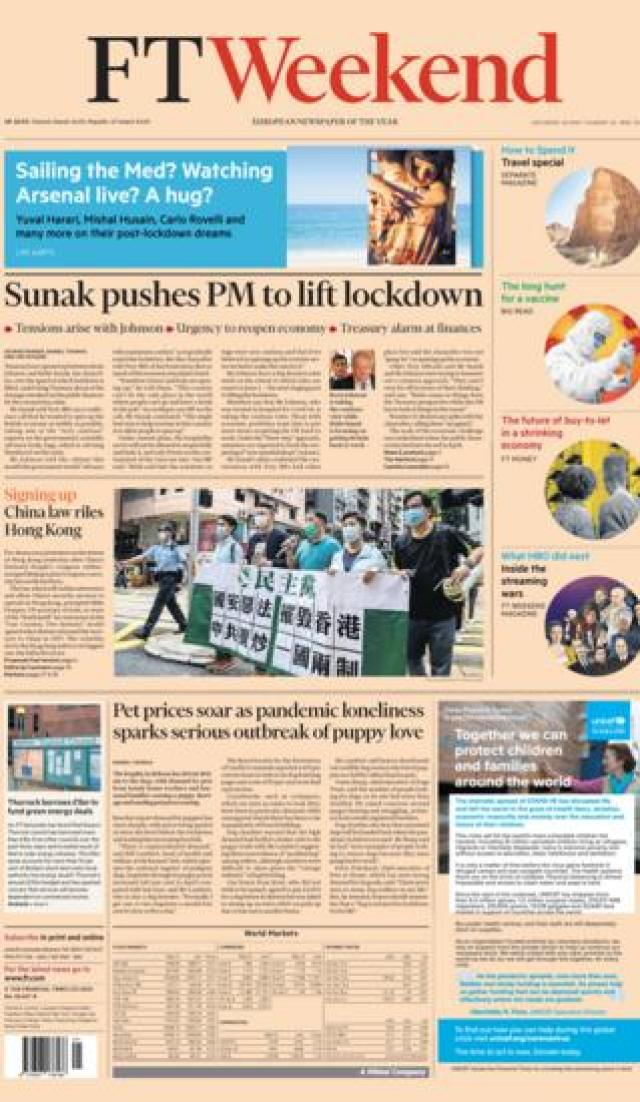 FT front page 23 May