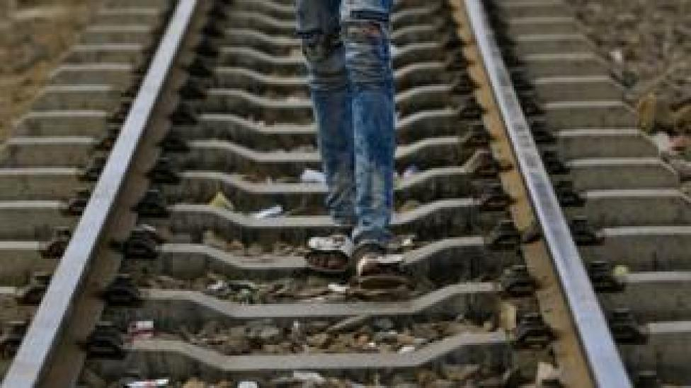 Mid-shot on legs on a railway track - Sunday 12 May