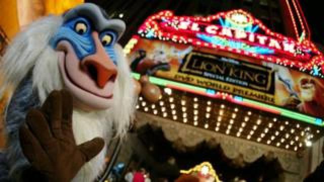 Rafiki from Lion King outside DVD premiere