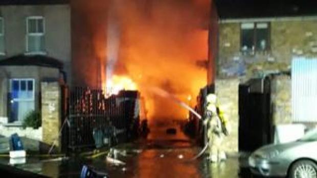 Fire at car workshop