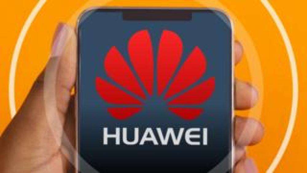 trump Huawei logo on a smartphone