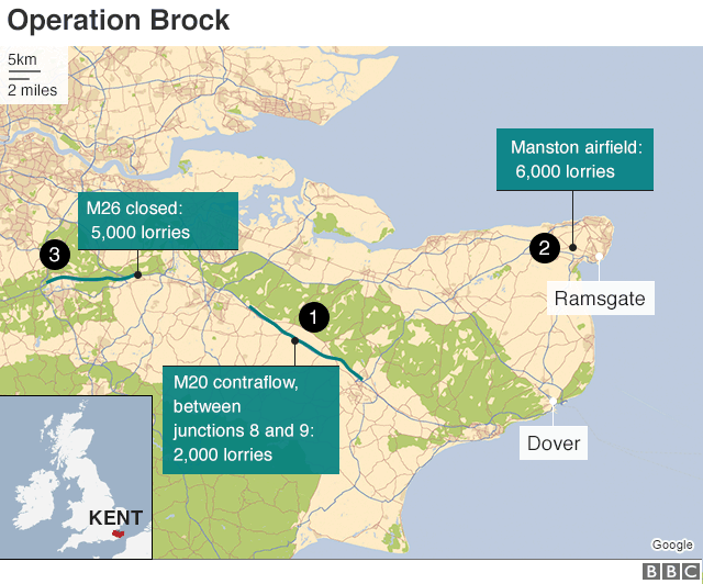 Map showing government plans for roads and ports in the event of a no-deal Brexit