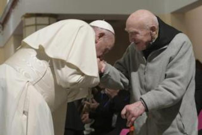 Pope Francis greets French monk Father Jean-Pierre Schumacher in Rabat, Morocco, 31 March