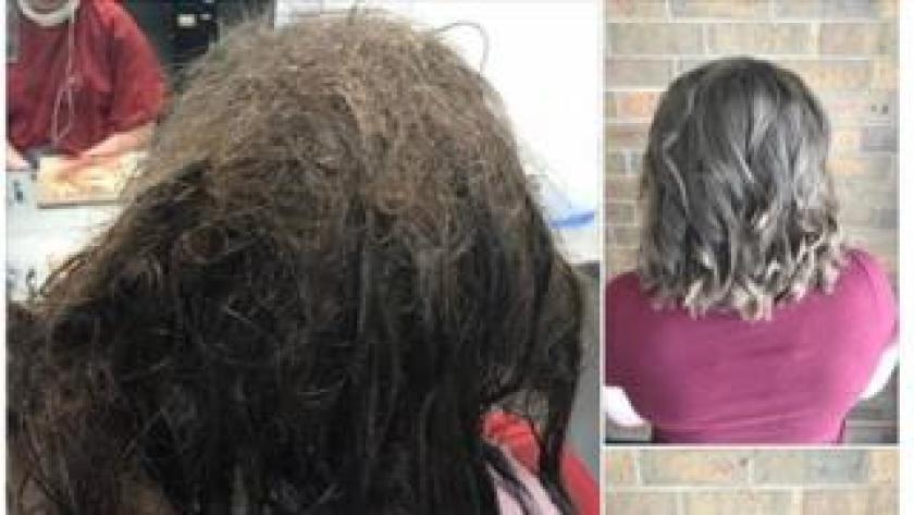 Hairdresser transforms teen's hair