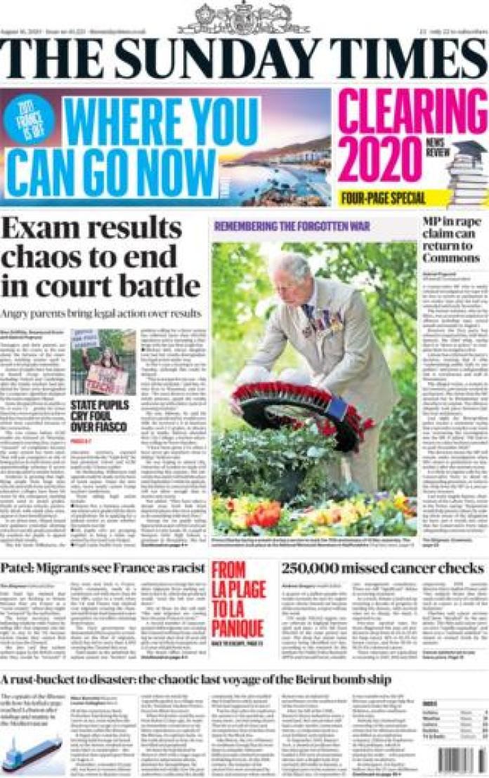 The Sunday Times front page August 16, 2020
