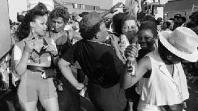 Revellers at Notting Hill Carnival, Elkstone Road, 1991