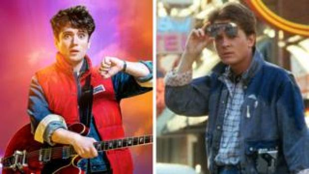 Olly Dobson (left) and Michael J Fox in Back to the Future