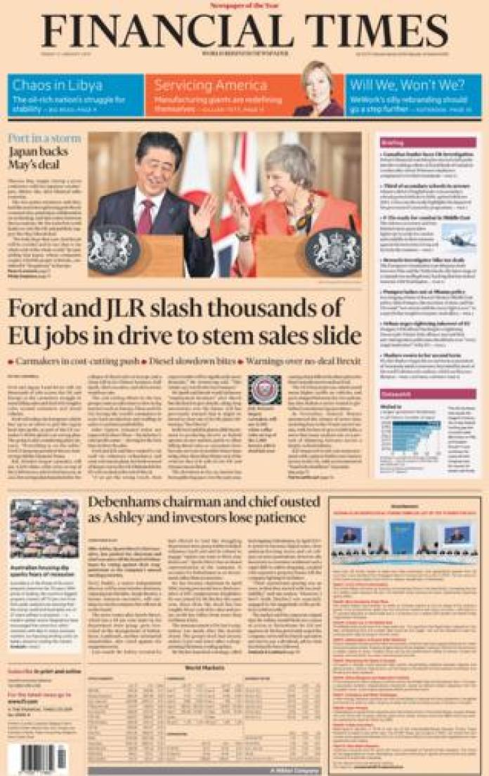 Financial Times front page, 11/1/19