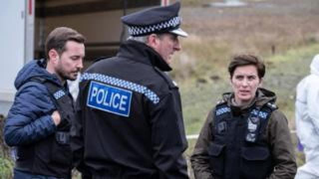 Martin Compston, Adrian Dunbar and Vicky McClure in Line of Duty